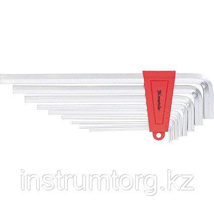 Набор ключей имбусовых HEX, 2–12 мм, CrV,  9 шт., экстра-длин,  сатин.// MATRIX
