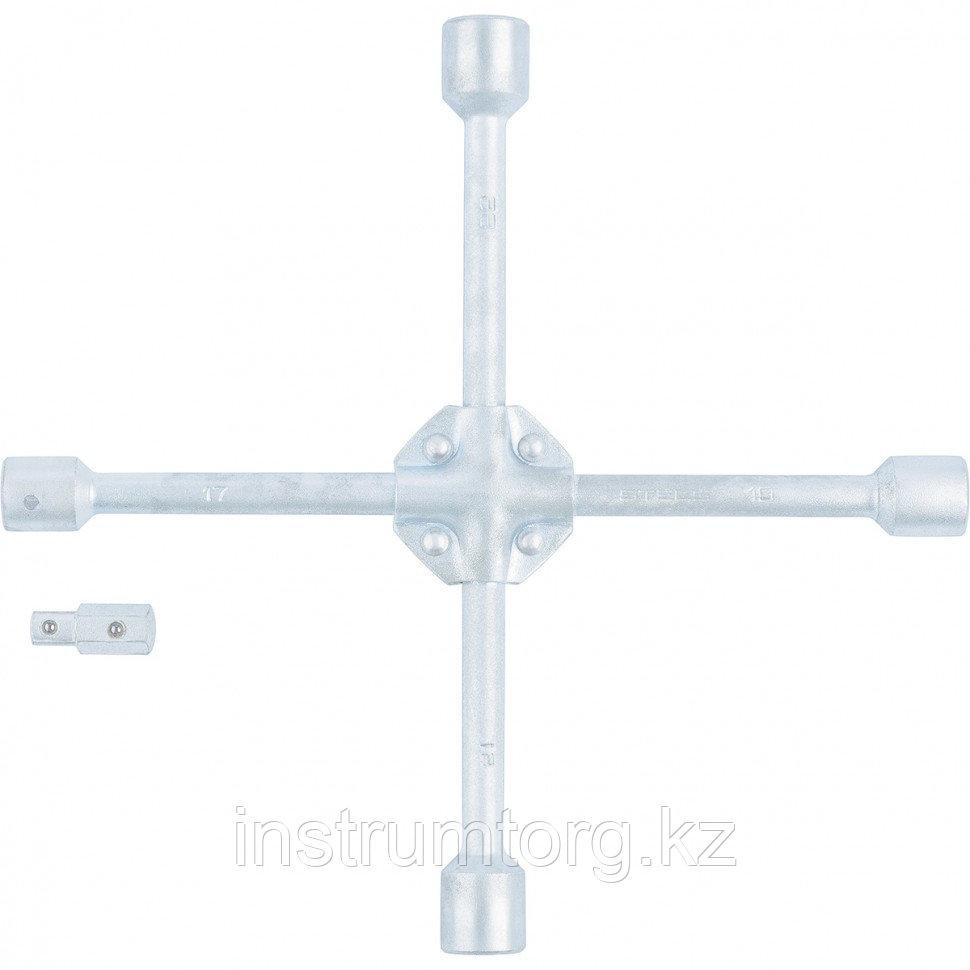 Ключ-крест баллонный, 17 х 19 х 21 х 22 х 1/2, усиленный, с переходником на 1/2// Stels