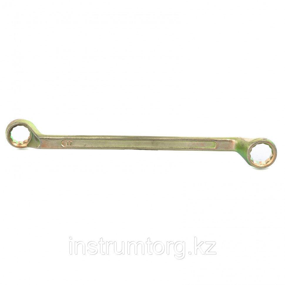 Ключ накидной, 17 х 19 мм, желтый цинк// Сибртех