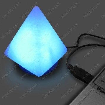 """Солевая USB лампа """"Пирамида-Ультра"""" с природными трещинами и дефектами (питание USB), фото 2"""