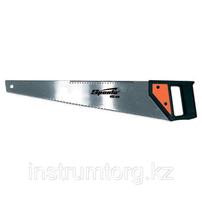 Ножовка по дереву, 450 мм, 5-6 TPI, каленый зуб, линейка, пластиковая рукоятка// Sparta