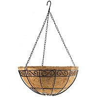 Кашпо подвесное с орнаментом, с кокосовой корзиной, диаметр 30 см// Palisad