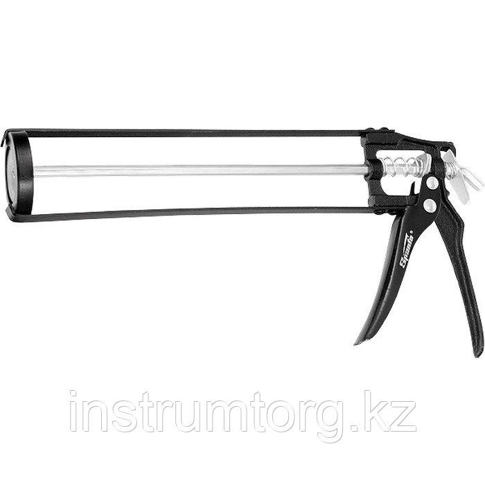 """Пистолет для герметика, 310 мл, """"скелетный"""" усиленный с фиксатором, 6-гранный шток 7 мм// Sparta"""
