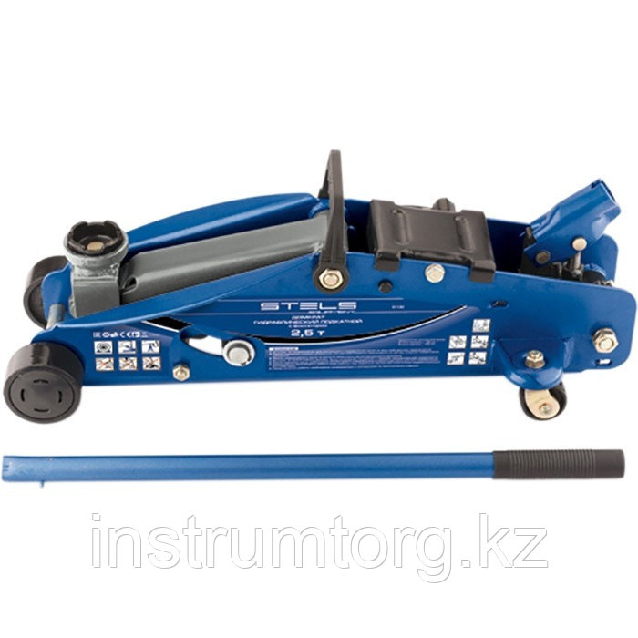 Домкрат гидравлический подкатной с фиксатором, 2,5т SAFETY PIN, 140-385 мм, в кейсе// Stels