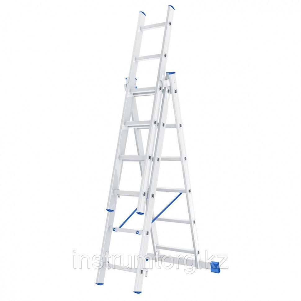 Лестница, 3 х 6 ступеней, алюминиевая, трехсекционная, Россия// Сибртех
