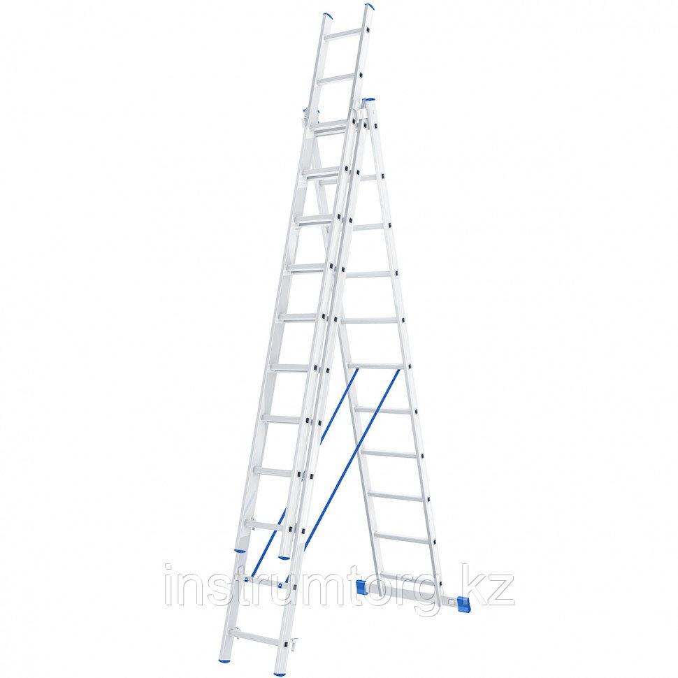 Лестница, 3 х 11 ступеней, алюминиевая, трехсекционная, Россия// Сибртех