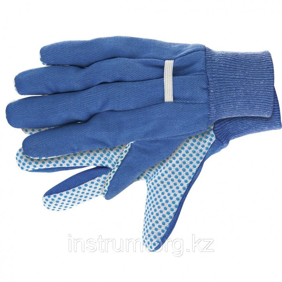 Перчатки рабочие х/б ткань с ПВХ точкой, манжет, XL// Сибртех