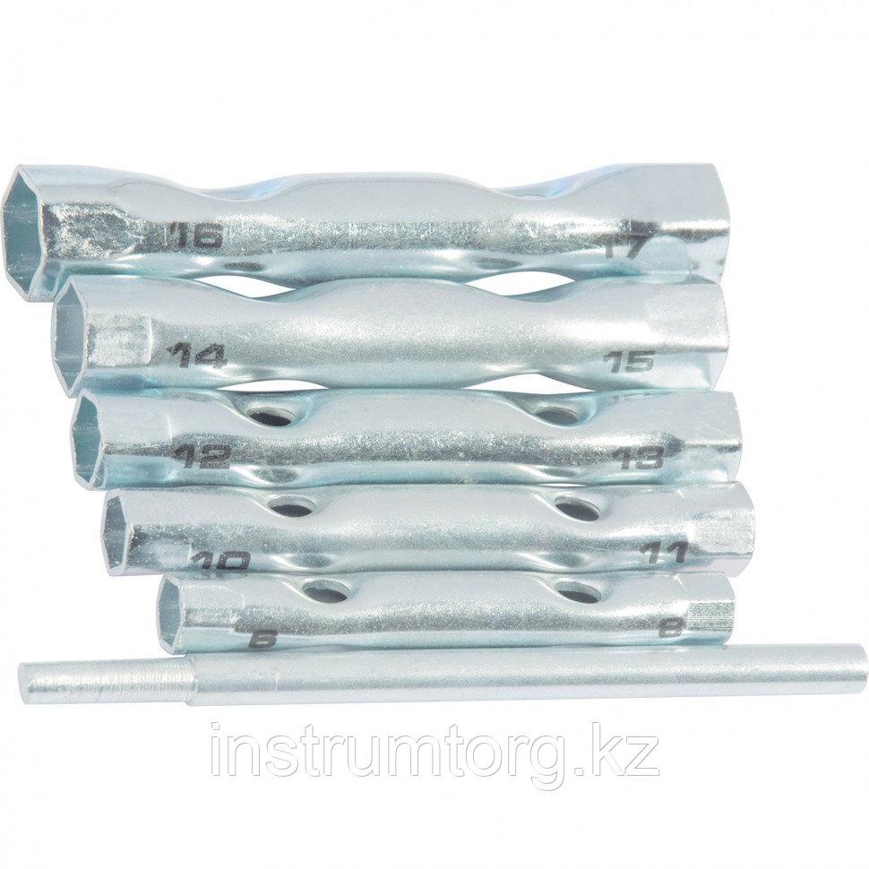 Набор ключей-трубок торцевых, 8 х 17 мм, вороток, оцинкованные, 6 шт.// Sparta - фото 2