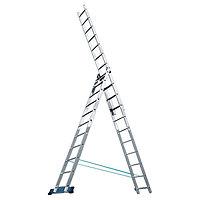 Лестница, 3 х 8 ступеней, алюминиевая, трехсекционная // Россия
