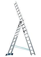 Лестница, 3 х 10 ступеней, алюминиевая, трехсекционная // Pоссия