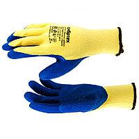 Перчатки трикотажные, полиэфирные, латексное рельефное покрытие, M// Сибртех