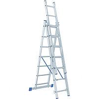 Лестница, 3 х 7 ступеней, алюминиевая, трехсекционная, Россия// Сибртех