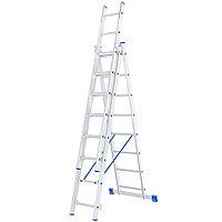 Лестница, 3 х 8 ступеней, алюминиевая, трехсекционная, Россия// Сибртех