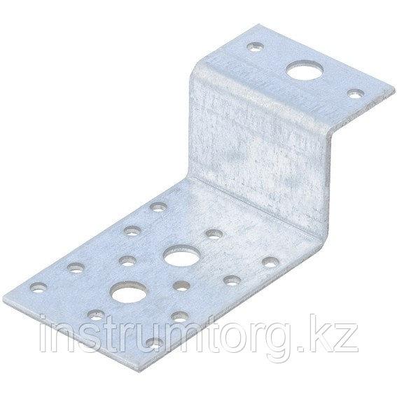 Крепежный уголок Z-образный, KUZ 35х70х55 мм, цинк, Россия// Сибртех