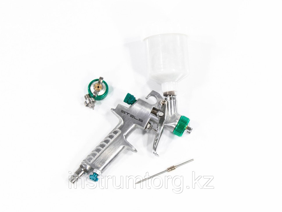 Краскораспылитель AG 810 HVLP, гравитационный, сопло 0,8 мм и 1 мм// Stels