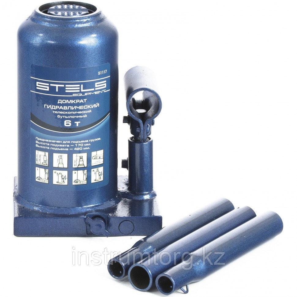 Домкрат гидравлический бутылочный телескопический, 6 т, h подъема 170–420 мм// Stels
