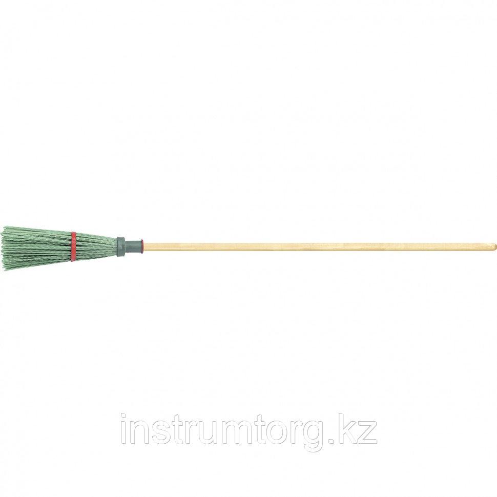 Метла полипропиленовая, 140х310х1550 мм, круглая, с ободом, деревянный черенок, Россия// Сибртех