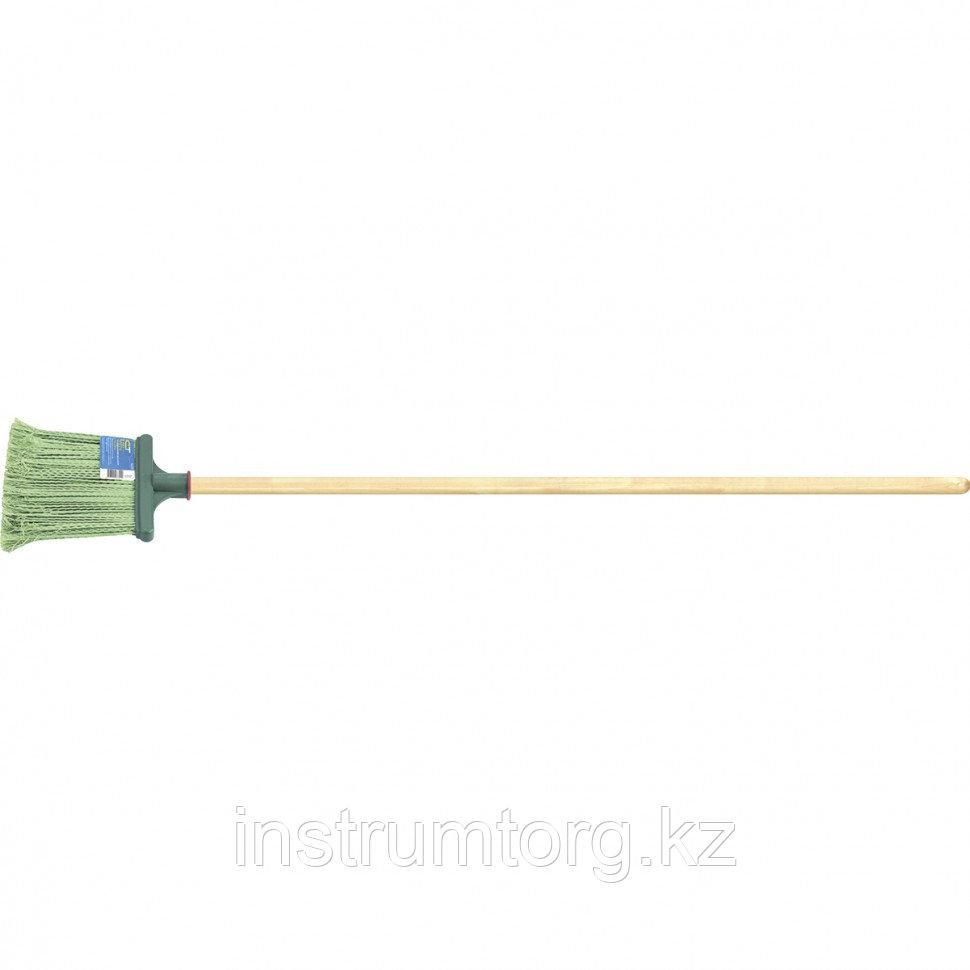 Метла полипропиленовая, 240х160х1400 мм, плоская распушенная, деревянный черенок, Россия// Сибртех