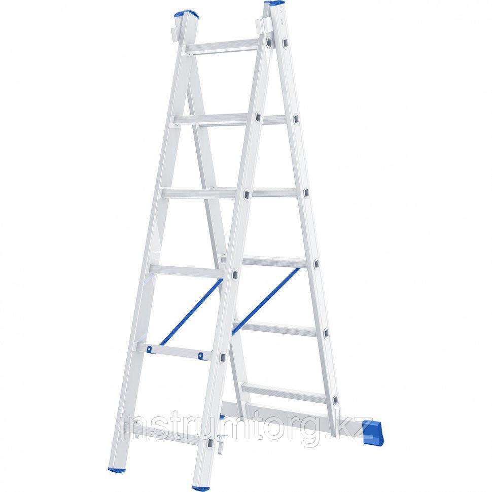 Лестница, 2 х 6 ступеней, алюминиевая, двухсекционная, Россия// Сибртех