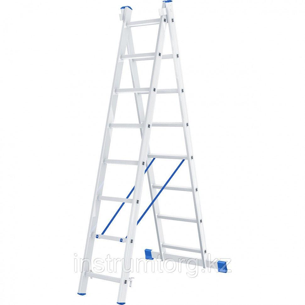 Лестница, 2 х 8 ступеней, алюминиевая, двухсекционная, Россия// Сибртех