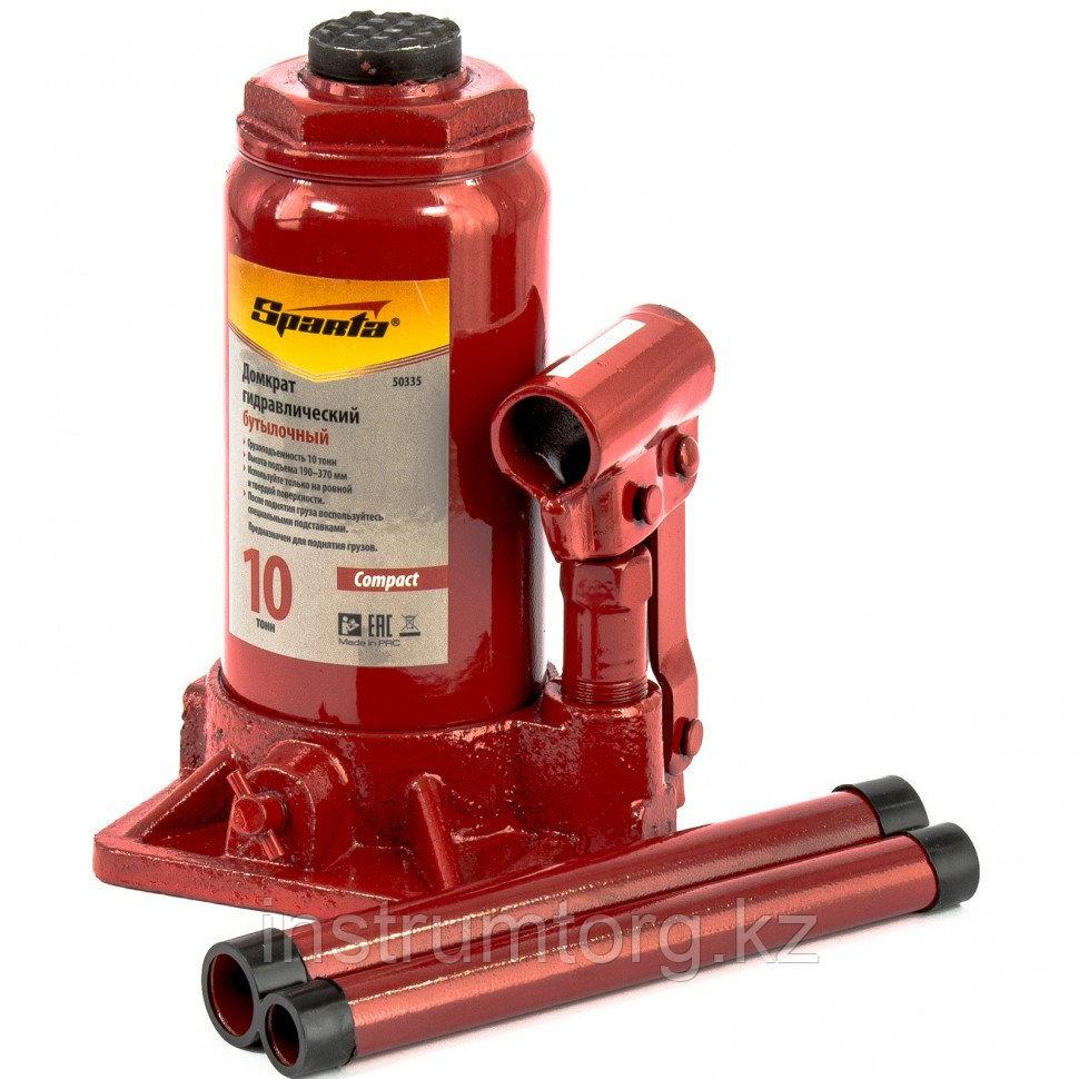Домкрат гидравлический бутылочный, 10 т, h подъема 190-370 мм// SPARTA Compact