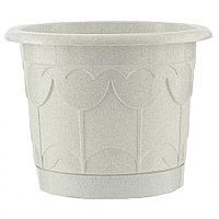 Горшок Тюльпан с поддоном, мрамор, 1,4 л // PALISAD