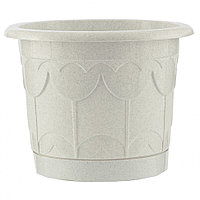 Горшок Тюльпан с поддоном, мрамор, 3,9 л // PALISAD