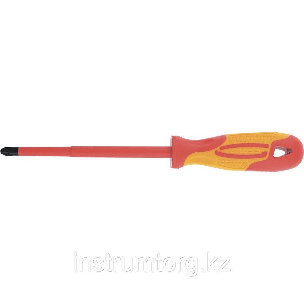 Отвертка диэлектрическая PH0х75 мм, CrMo, до 1000 В, двухкомпонентная рукоятка// Gross