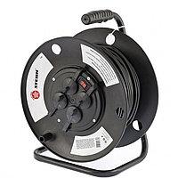 Удлинитель силовой на кабельной катушке, серия EB, 50м, 4 розетки с крышкой, IP44 // Stern