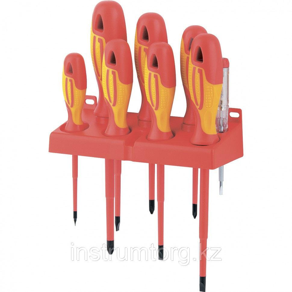 Набор отверток диэлектрических до 1000 В, тестер, CrMo, двухкомпонентные рукоятки, 8 предм.// Gross