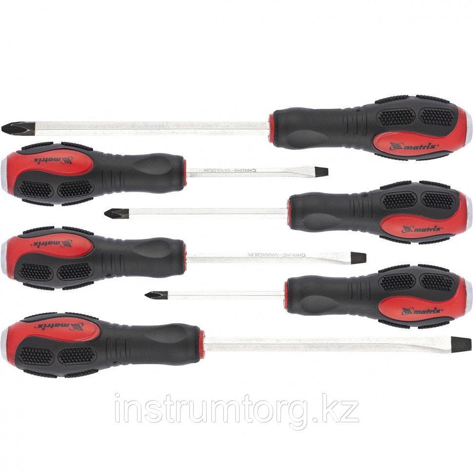 Набор ударных отверток 6шт. PH1x75, PH2x100, PH3x150, SL5x75,SL6x100, SL8x150, CrV// Matrix