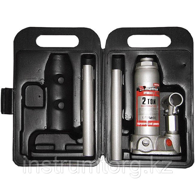 Домкрат гидравлический бутылочный, 2 т, h подъема 181–345 мм, в пласт. кейсе// Matrix