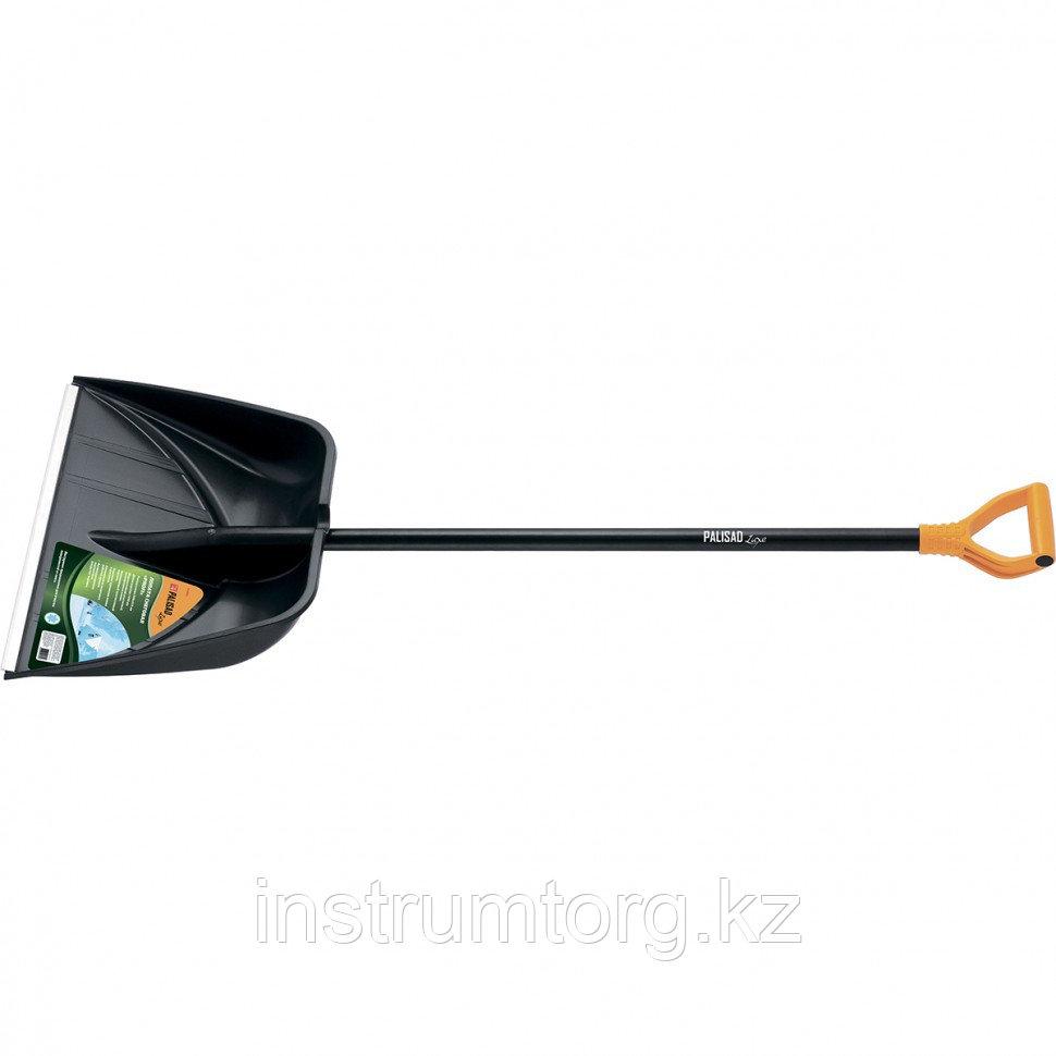 Лопата для уборки снега пластиковая PROFI, 550х415х1405 мм, алюминиевый черенок, Россия// Palisad