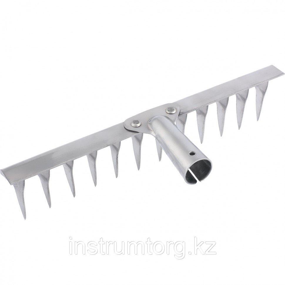 Грабли, нержавеющая сталь, 340 мм, 14 витых зубьев, без черенка, Россия// Сибртех