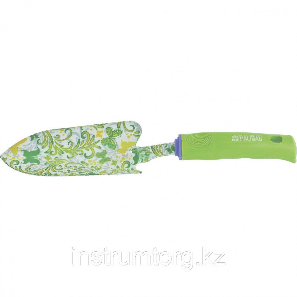 Совок посадочный широкий, 80х330 мм, стальной, пластиковая рукоятка, FLOWER GREEN// Palisad