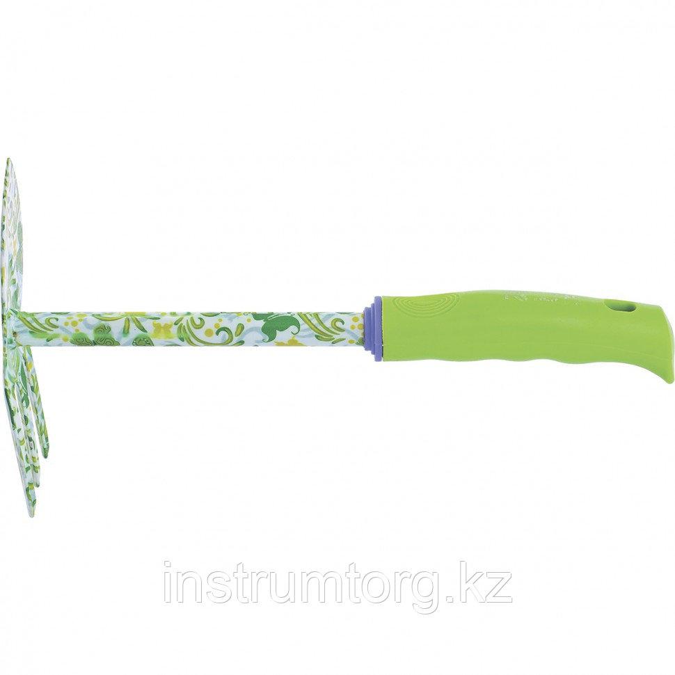 Мотыжка комбинированная, 65х300 мм, стальная, пластиковая рукоятка, FLOWER GREEN// Palisad
