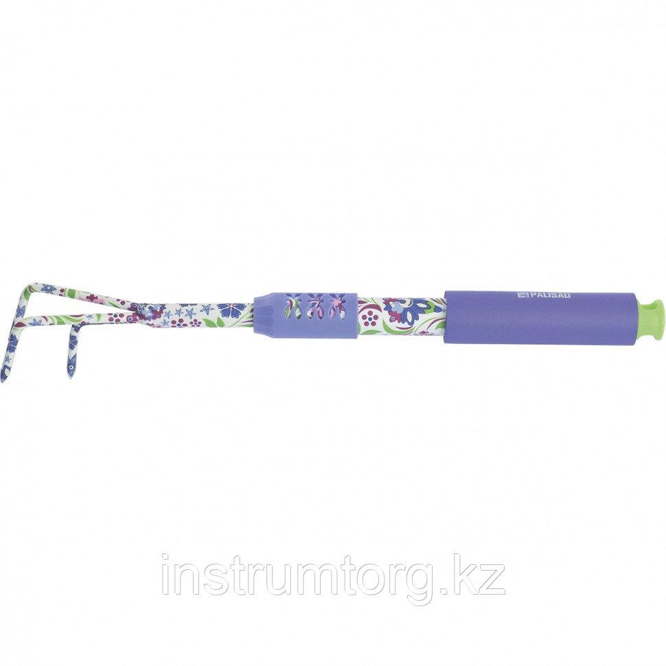 Рыхлитель 3-зубый, 60х430 мм, стальной, удлиненная рукоятка, FLOWER MINT// Palisad