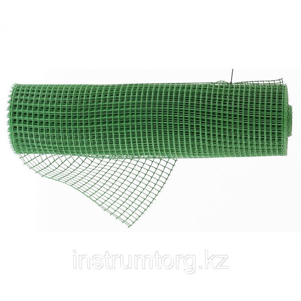 Решетка заборная в рулоне, облегченная, 1,5х25 м, ячейка 70х70 мм, пластиковая, зеленая// Россия