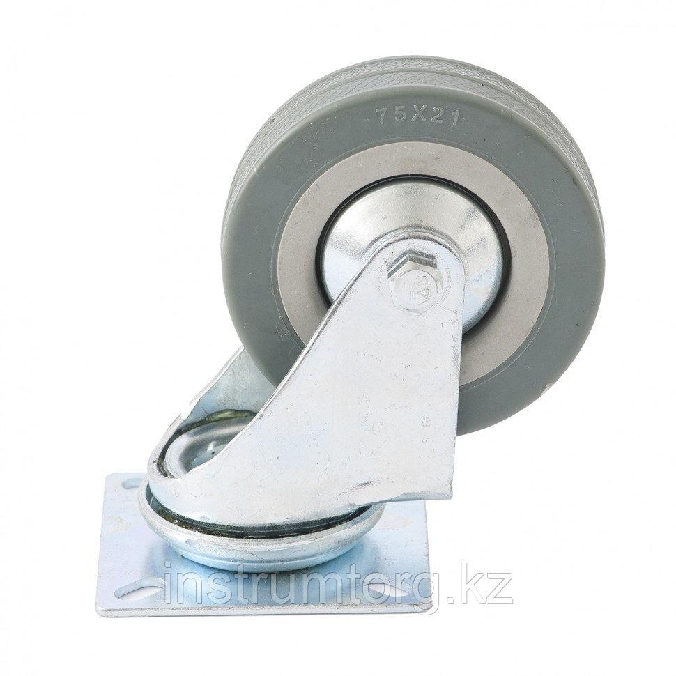 Колесо поворотное, диаметр 100 мм, крепление  платформенное// Сибртех
