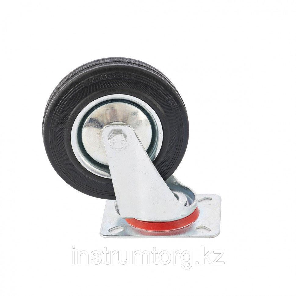 Колесо поворотное, диаметр 125 мм, крепление  платформенное// Сибртех