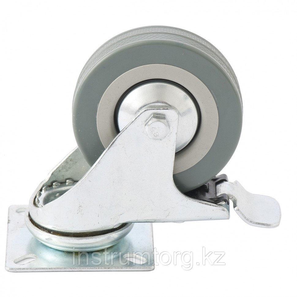 Колесо поворотное с тормозом, диаметр 75 мм, крепление  платформенное// Сибртех