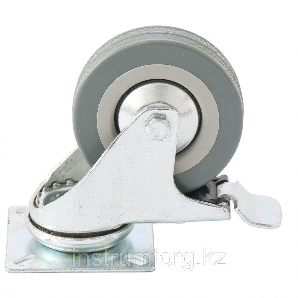 Колесо поворотное с тормозом, диаметр 100 мм, крепление  платформенное// Сибртех