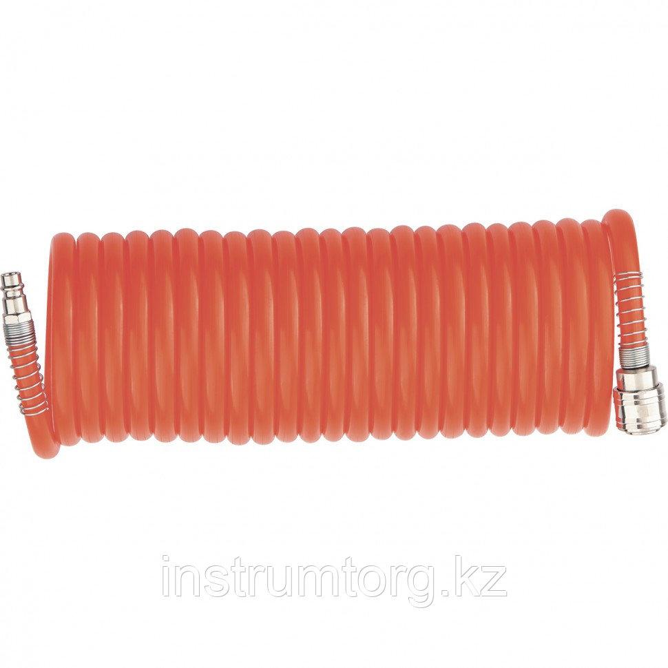 Шланг спиральный воздушный 8х12 мм, 18 бар, с быстросъемными соединениями, 15 м// Stels
