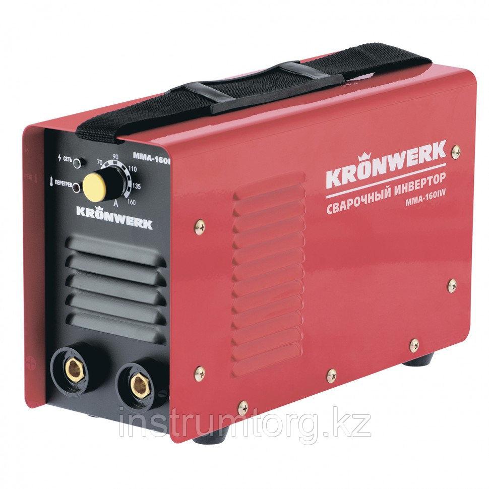Аппарат инвертор. дуговой сварки ММА-160IW, 160 А, ПВР60%, диам.эл.1,6-3,2 мм, провод 2м// KRONWERK