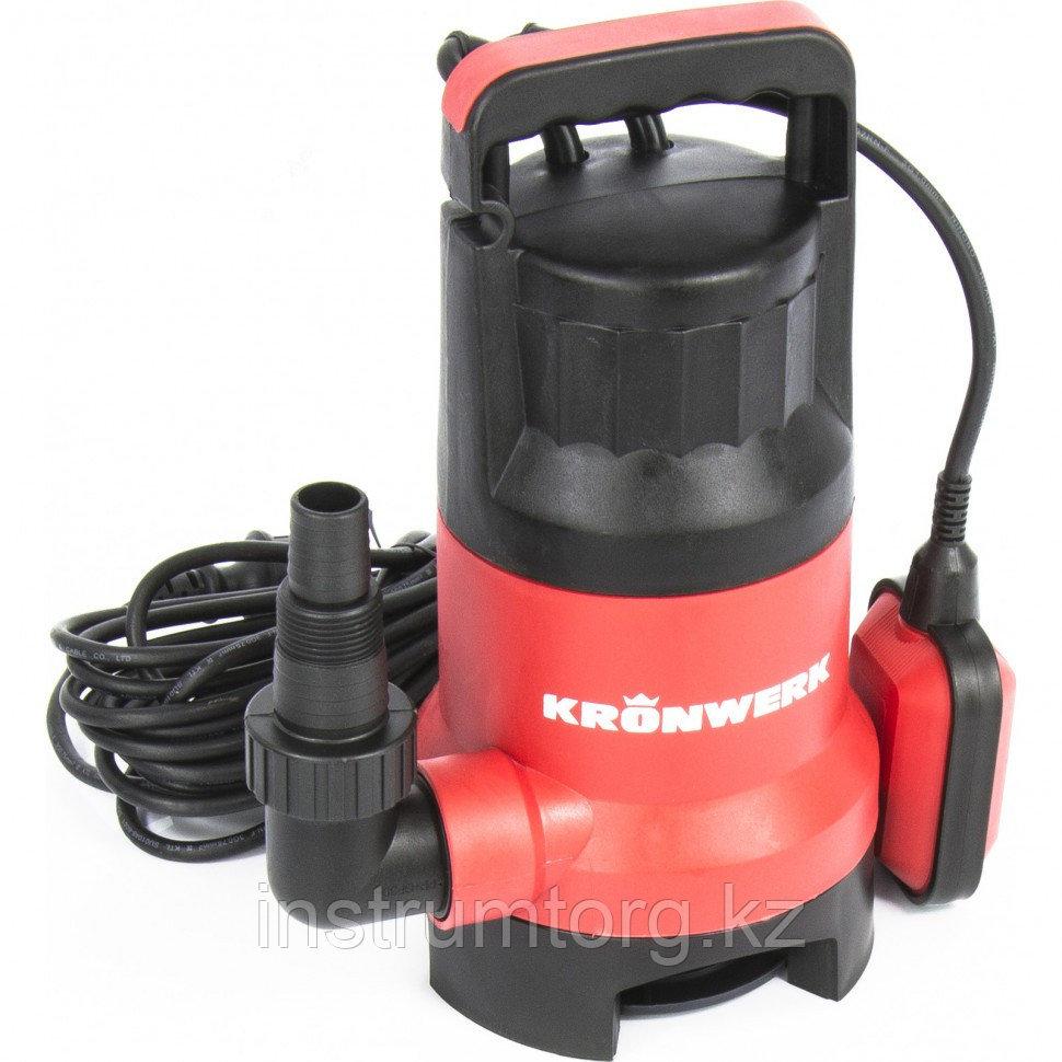 Дренажный насос для грязной воды KP800, 800 Вт, подъем 8 м, 13000 л/ч // Kronwerk