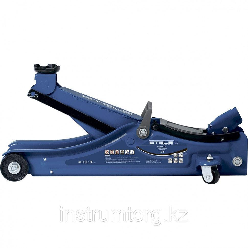 Домкрат гидравлический подкатной,  2 т Low Profile, 80-380 мм, в пласт. кейсе// STELS