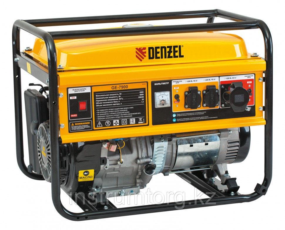 """Генератор бензиновый """"Denzel"""" GE 7900, 6,5 кВт, 220 В/50 Гц, 25 л, ручной старт Denzel"""