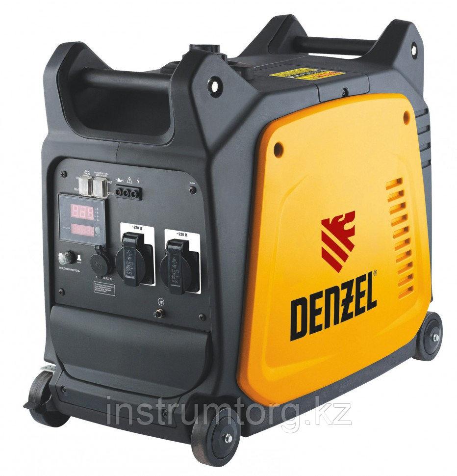 Генератор инверторный GT-3500i, X-Pro 3,5 кВт, 220В,цифровое табло, бак 7,5 л, ручной старт// Denzel