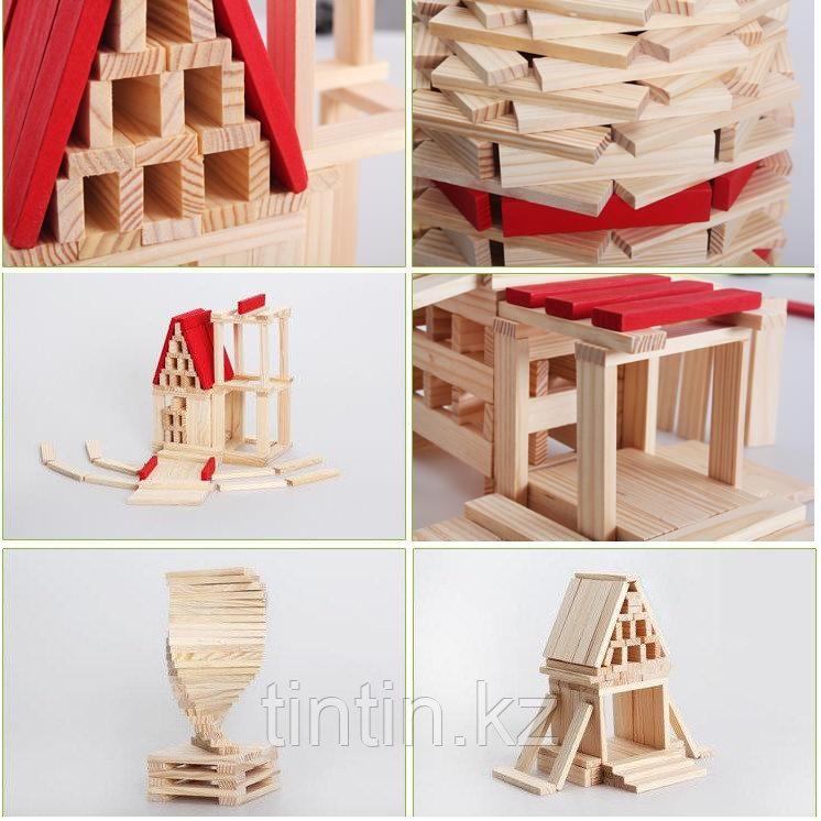 Деревянный конструктор- Брусочки, 140 деталей