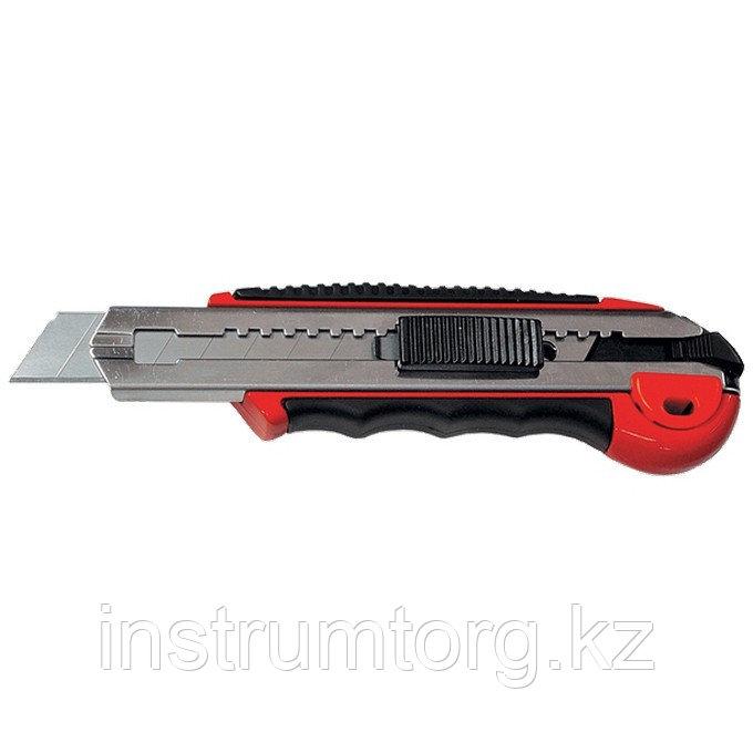 Нож, 18 мм, выдвижное лезвие, метал. направляющая, обрезиненная ручка, 5 лезвий// Matrix